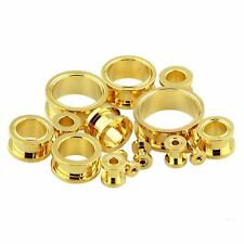 Tunnels 02mm/12 Gauge Body Jewelry Pair-Gold Plate Screw On Ear