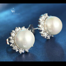 18k white gold GF made with swarovski crystal wedding pearl stud earrings simple