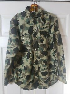 Vintage PRENTISS OUTDOORS Chamois MADE USA Duck Camo Mens Medium HUNTING Shirt
