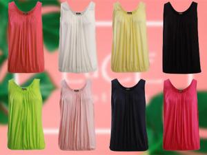 NEW Womens Soft Stretch Italian Loose Fit Elasticated Hem Sleeveless Vest Top
