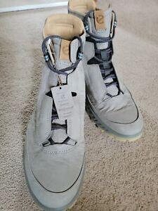 New! ECCO Exostrike Men's 12  Dyneema Leather Wild Dove Grey Boot.