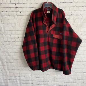 PATAGONIA Synchilla Fuzzy Plaid Wax Red Buffalo Black Fleece Pullover XL
