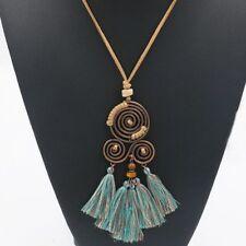 Vintage Chain Accessories Long Leather Necklace Choker Tassel Pendant Women