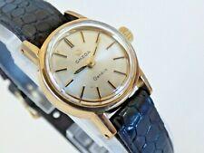 Omega Geneve Ladies Vintage Watch Gold Filled Black Leather Strap