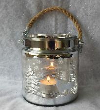 VETRO NEVE NATALE ARGENTO scena BARATTOLO T-LIGHT HOLDER Tea candela renna vintage