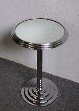 Guéridon Chrome et Miroir Art Déco Moderniste - Petit Modèle diamètre 35 cm