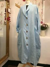 LAGENLOOK BEAUTIFUL LIGHT BLUE 2 POCKET LONG LINEN  DRESS/JACKET BUST 48 - 52""