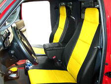 FORD RANGER 2010-2011 BLACK/YELLOW LEATHER-LIKE 2 FRONT SEAT & CONSOLE COVERS