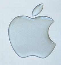 1 x 3D Domed Matt Silver Apple logo sticker Apple Accessory. Size 50x43mm