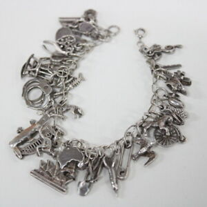 Sterling Silver Bracelet With Various Australian Charms #604