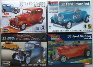 1/25 REVELL 1932 Ford Street Rods *HIGH BOY/SEDAN/COUPE/ROADSTER* 4 KIT LOT