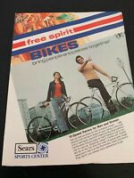 Vtg Sears Free Spirit Bikes Bicycles Sales Brochure Ad Advertisements