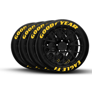 """Permanent Tire Lettering Goodyear Eagle F1 stickers Yellow 1.25' 15""""- 22"""" 9 kit"""