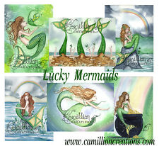 Lucky Irish MERMAID NOTE CARDS from Watercolors by Grimshaw St Patrick celtic