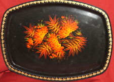 Vintage Soviet Russian Hand Painted Serving Metal Tray
