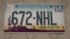 1 - ARIZONA EMBOSSED GRAPHIC BASE LICENSE PLATE 672-NHL NATIONAL HOCKEY LEAGUE
