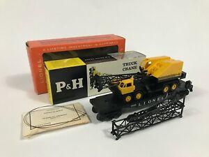 SCARCE Postwar Lionel 6828 P&H Crane Truck DARK YELLOW C10 OB