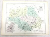 1853 Antique French Map Auch Gers Lombez France Hand Coloured Engraving