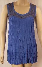 BeMe Blue Beaded Crushed Viscose Sleeveless Tunic Top Plus Size 16 BNWOT # C60