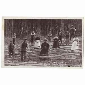 CILGELL-GANOL WOODS nr Lampeter Workers Debarking Oak RP Postcard Unposted