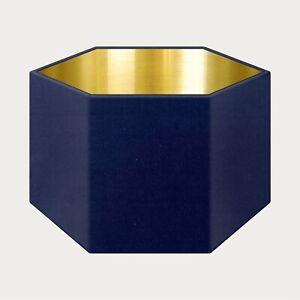 Lampshade Navy Blue Velvet Brushed Gold Rounded Hexagon Light Shade