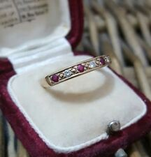 9 CT GOLD RING, RUBY GEMSTONES & DIAMONDS, SIZE O, HALLMARKED 375, 9K, ETERNITY