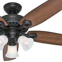 "Hunter 42"" New Bronze Traditional Ceiling Fan- Swirled Marble Glass Light Kit"