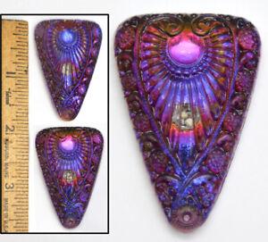 XL 45mm Vintage Czech Glass Egyptian Revival Blue Purple AB Triangle Buttons 2pc