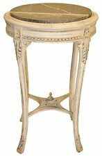 Italian Round Side End Table, Plant Stand with Marble Top, Distressed Paint