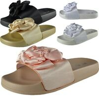 Womens Ladies Comfy Plain Rubber Clear Sliders Flats Shoes Slides Slippers Size