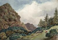 FIGURES IN LANDSCAPE CONISTON LAKE DISTRICT Watercolour Painting 19TH CENTURY