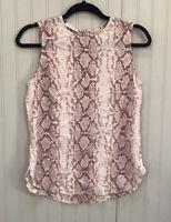 Equipment Femme Women's Size S Silk Snake Print Sleeveless Blouse