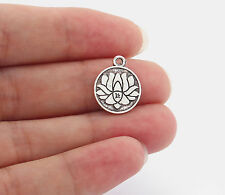 10 x Tibetan Silver Lotus Flower Charms Pendants Beads Double Sided 15mm