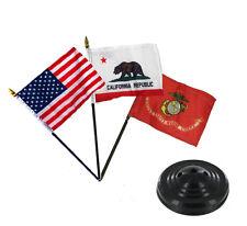 "Usa / California / Marine Ega Flags 4""x6"" Desk Set Table Stick Black Base"