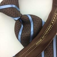 Ermenegildo Zegna Tie Limited Edition Brown Sky/Blue Necktie Luxury Ties L3 New