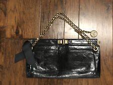Lanvin Vintage Black Leather Turn Lock  Handbag