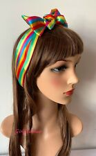 Satin Rainbow Multicoloured Stripes Headband Hairband Bandana Scarf Hair Tie Bow