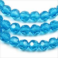 Lot de 20 perles à FACETTES 6mm en Cristal DE Bohème Aquamarine