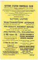 Sutton United v Walthamstow Avenue 1972/3 (24 Feb) Isthmian League