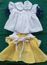 Vintage original Cabbage Patch Kids dress Lot 2 set: yellow checked-White/blue
