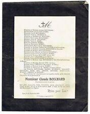 Avis de Décès Claude Bouchard - Commissionnaire en Grains - Lyon 1918