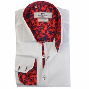 Men's Plain Shirt White Slim Fit Long Sleeve Cotton Size: S Claudio Lugli