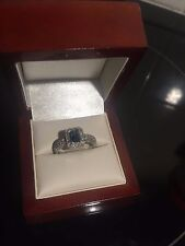 14k White Gold Ladies Blue Topaz & Diamond Ring