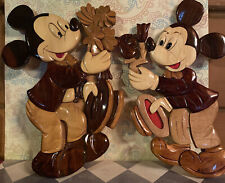 New listing Two Vintage Handmade Mickey Mouse Wooden Wall Plaque Wall Hanging Art