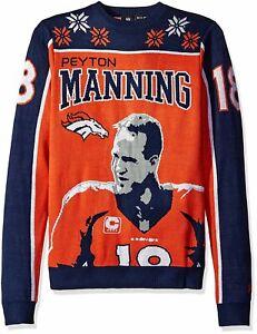 KLEW NFL Men's Denver Broncos Peyton Manning #18 Ugly Sweater