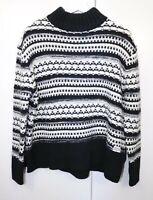 Superdry Size M Chunky Knit Turtle Neck Black White Long Sleeve fashion