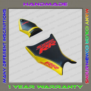 CUSTOM Design Seat Cover BMW S1000RR 09-11 black-yellow+red+Glow-effect 001