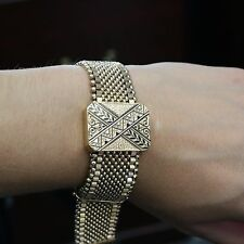 ESTATE Ladies 14k Gold Mesh Victorian Slide Bracelet Adjustable