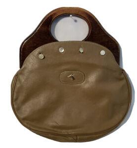 Delanthe Bermuda Bag Faux Leather Cover w/Horse Charm Wood Handles Vintage