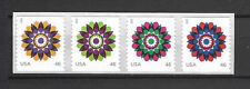 US Scott # 4722-25 / 4725a Kaleidoscope Flowers Coil Strip of 4 From 2013